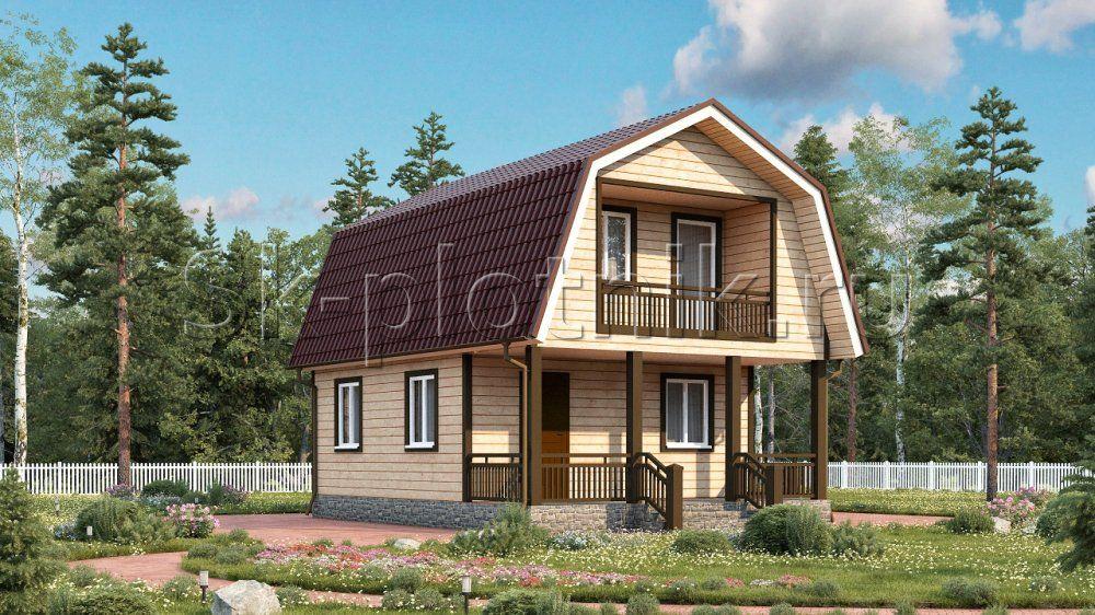 Дачный дом из бруса с террасой и балконом Д-2