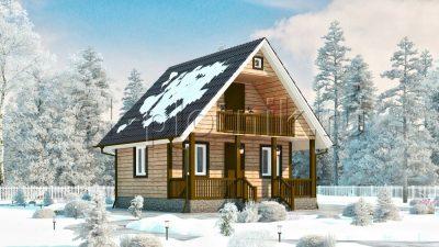 Дачный домик из бруса с террасой и балконом Д-8