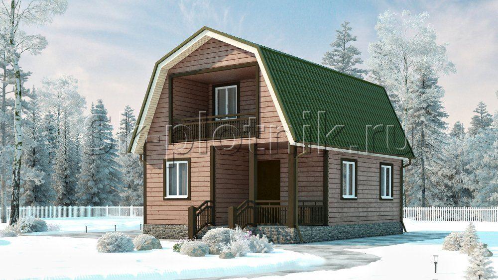 Каркасный дом с балконом ДК-1