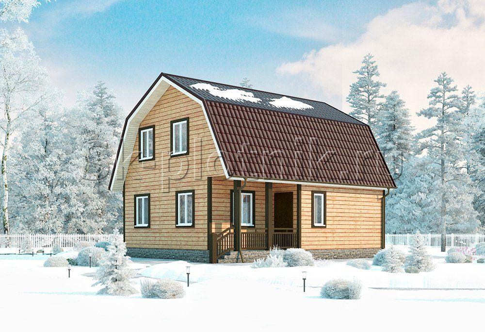 Дачный каркасный дом с угловой террасой ДК-19