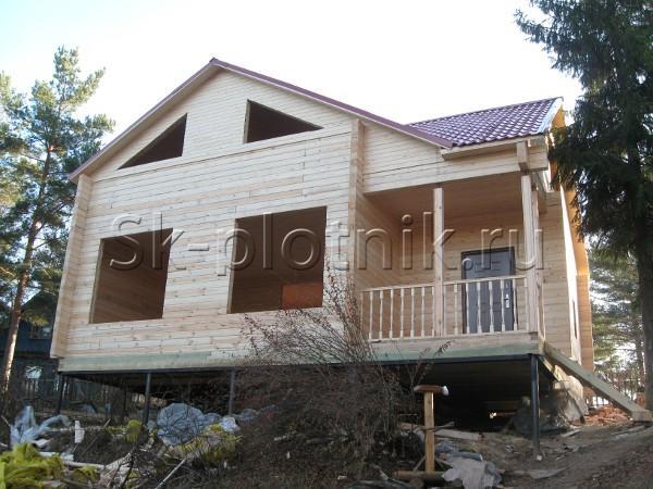 Строительство сруба дома под усадку
