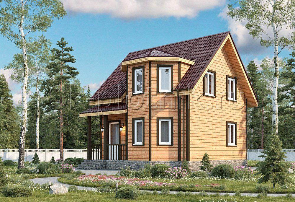 Дом каркасный полутороэтажный с эркером ДК-23