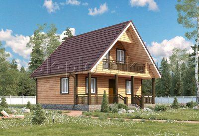 Дом из бруса с террасой и балконом Д-33
