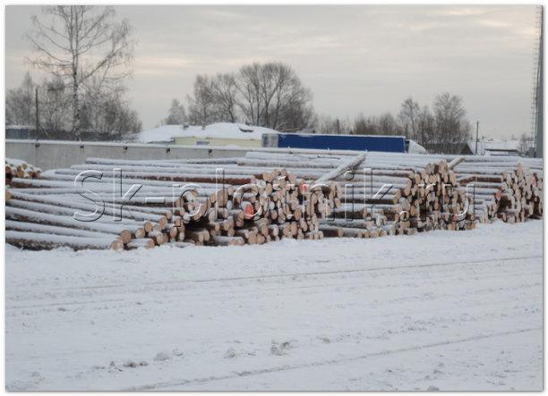 Складирование леса зимней заготовки