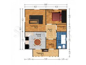 Дом из бруса с санузлом Д-48