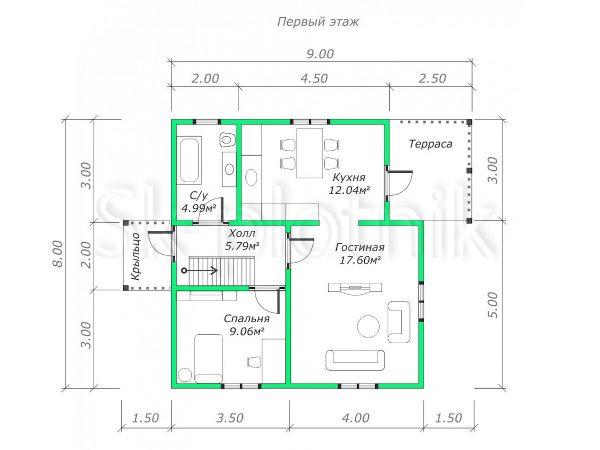 Дом из бруса Д-38 на 5 комнат. Картинка №1