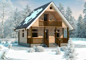 Дом из бруса с балконом ДС-8