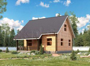 Дом из бруса с мансардой ДС-35