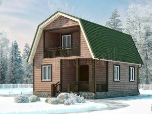 Дом из бруса 6х8 с балконом Д-1