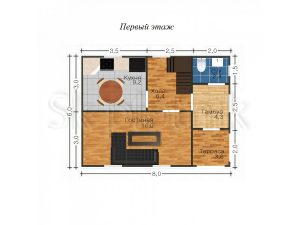 Дом из бруса с санузлом Д-15