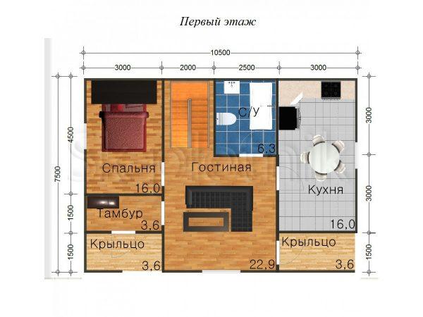 Дом из бруса Д-40. Картинка №1