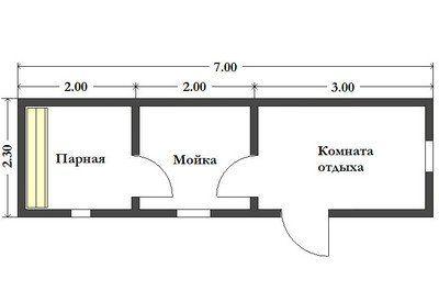 Готовая баня из бруса 2.3х7 м. Картинка №1