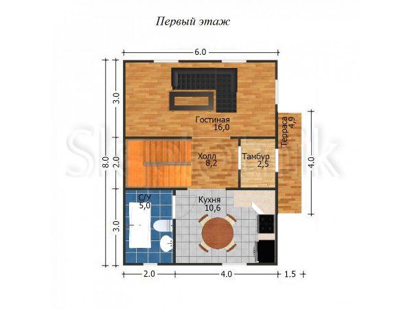 Дом из бруса с мансардой Д-28. Картинка №1
