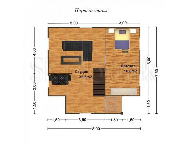 Дом из бруса Д-20. Картинка №1