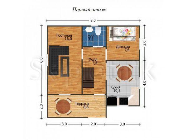 Дом из бруса 8х8 с мансардой Д-35. Картинка №1