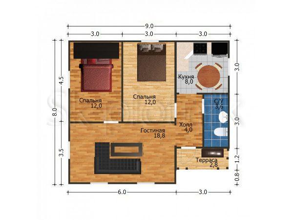 Дом из бруса с санузлом Д-53. Картинка №1