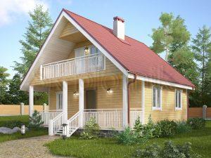 Каркасный дом с балконом ДК-33