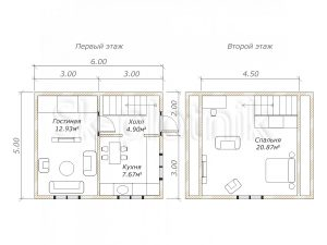Дом из бруса 5х6 Д-6