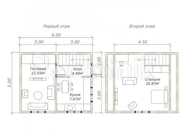 Дом из бруса 5х6 Д-6. Картинка №1