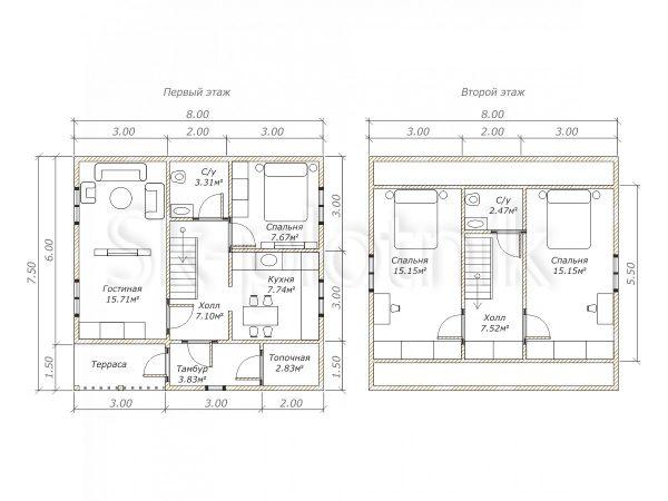 Дом из бруса с котельной Д-19. Картинка №1