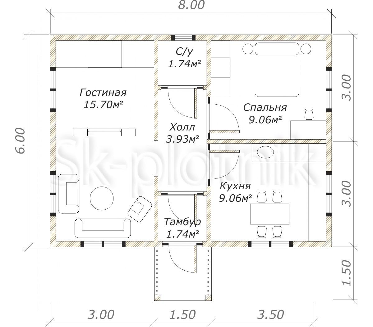 Каркасный дом ДК-51