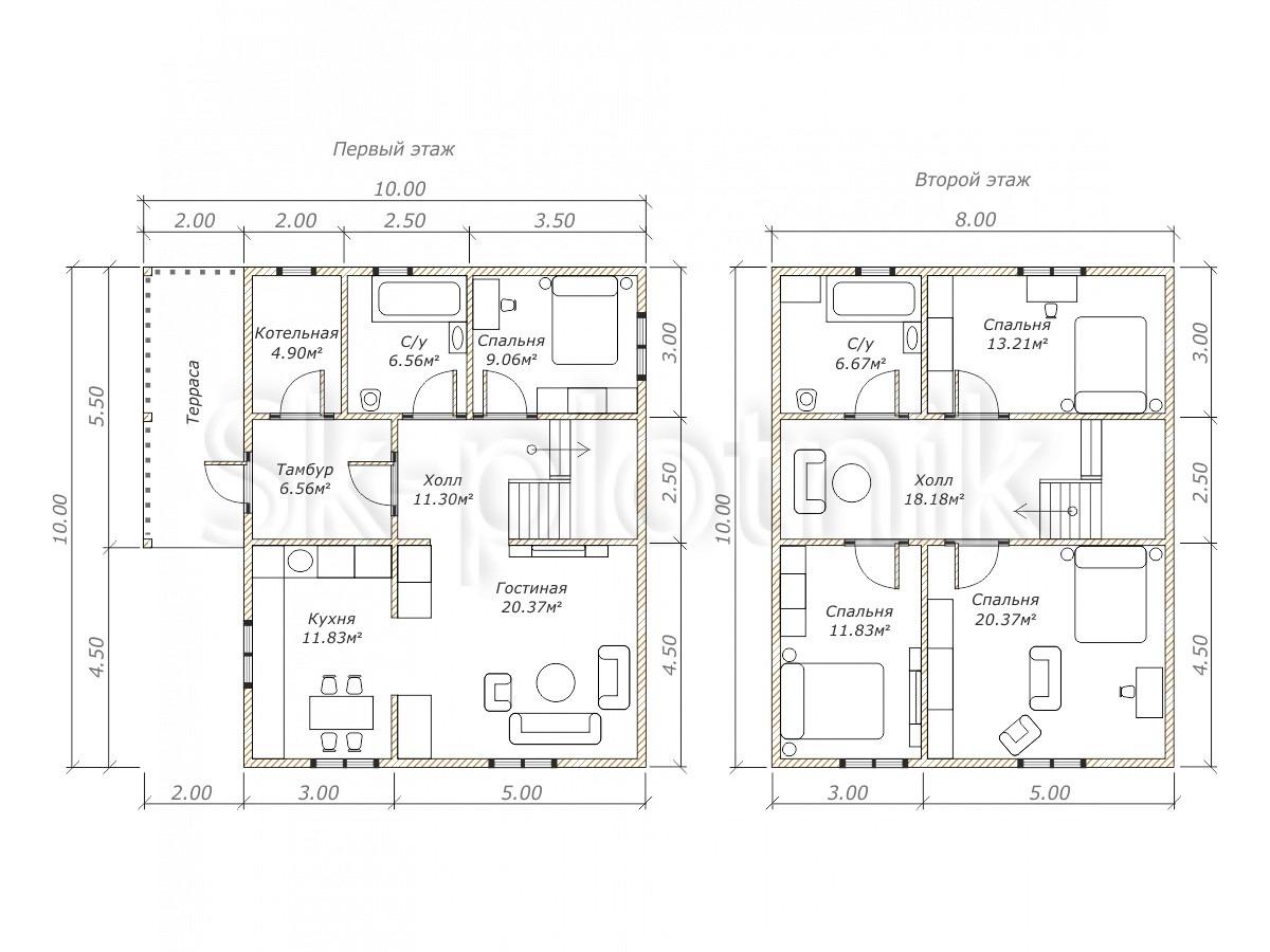 Каркасный дом с котельной ДК-34