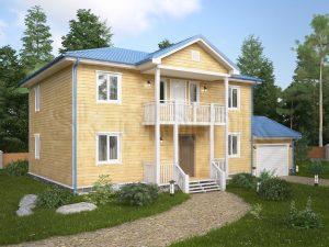 Дом из бруса с балконом Д-47