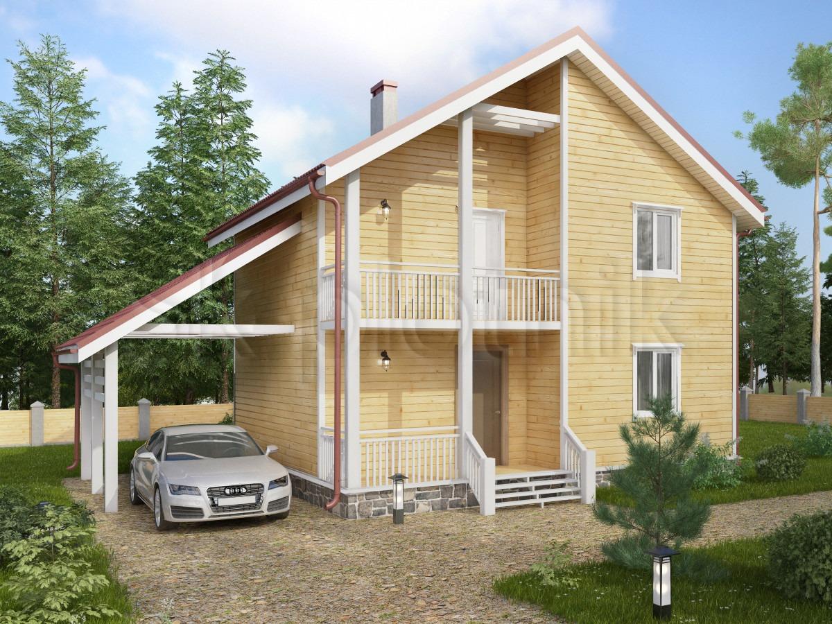 Дом из бруса с балконом Д-55