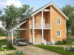 Каркасный дом с балконом ДК-55