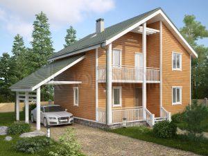 Дом 8х9 из бруса с балконом Д-56
