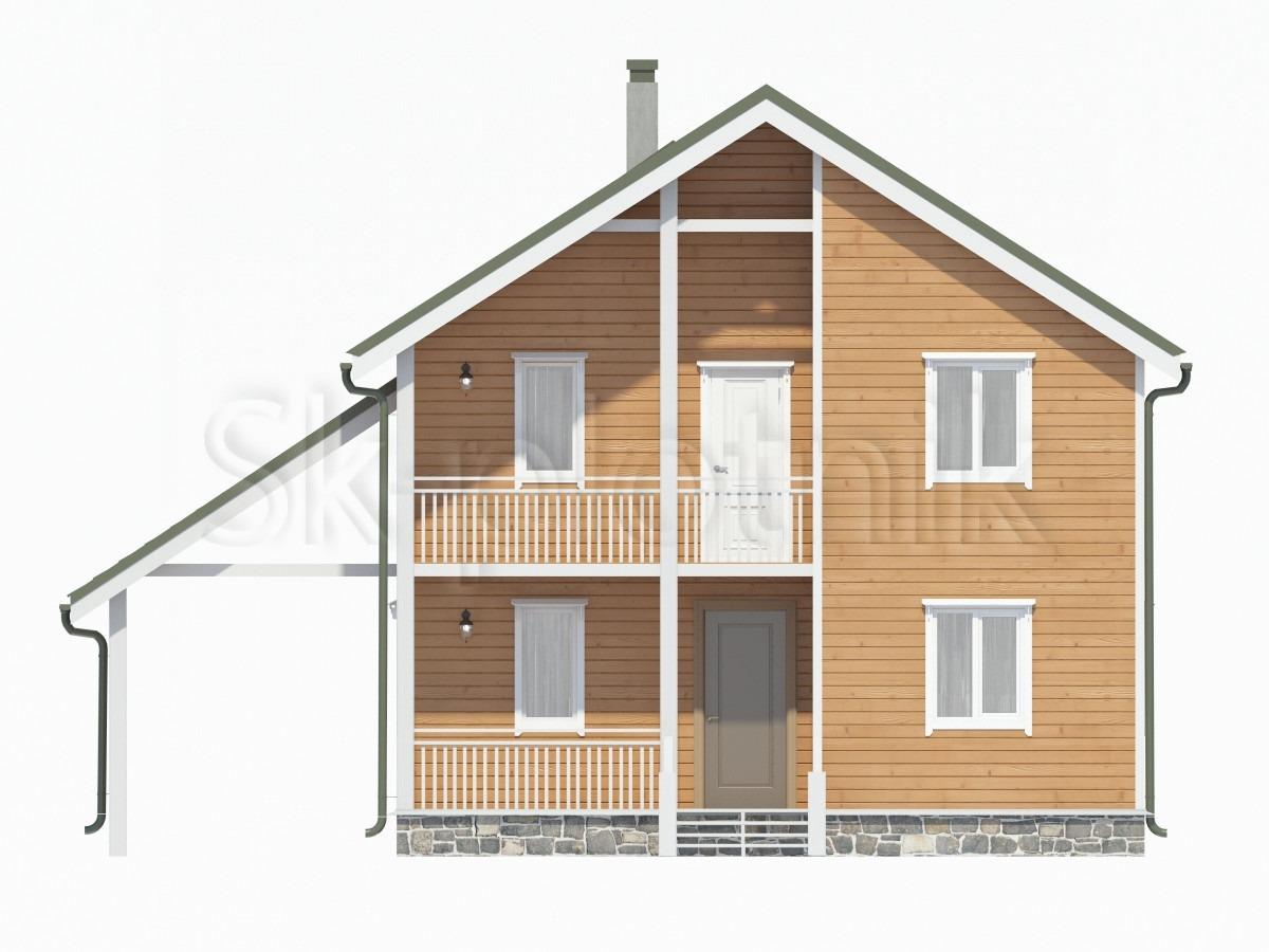 Дом из бруса с балконом Д-56