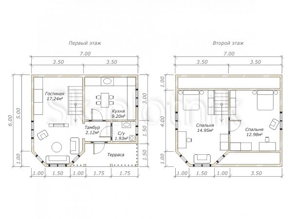 Дом из бруса с эркером Д-30. Картинка №1