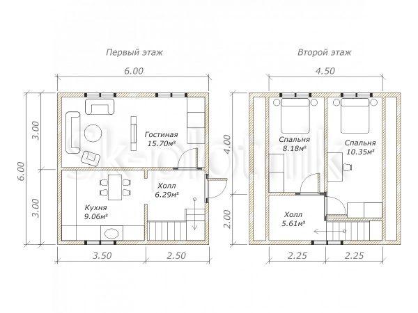Проект дома из бруса 6х6 Д-11. Картинка №1
