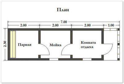 Готовая баня 2.3х7 м. Картинка №1