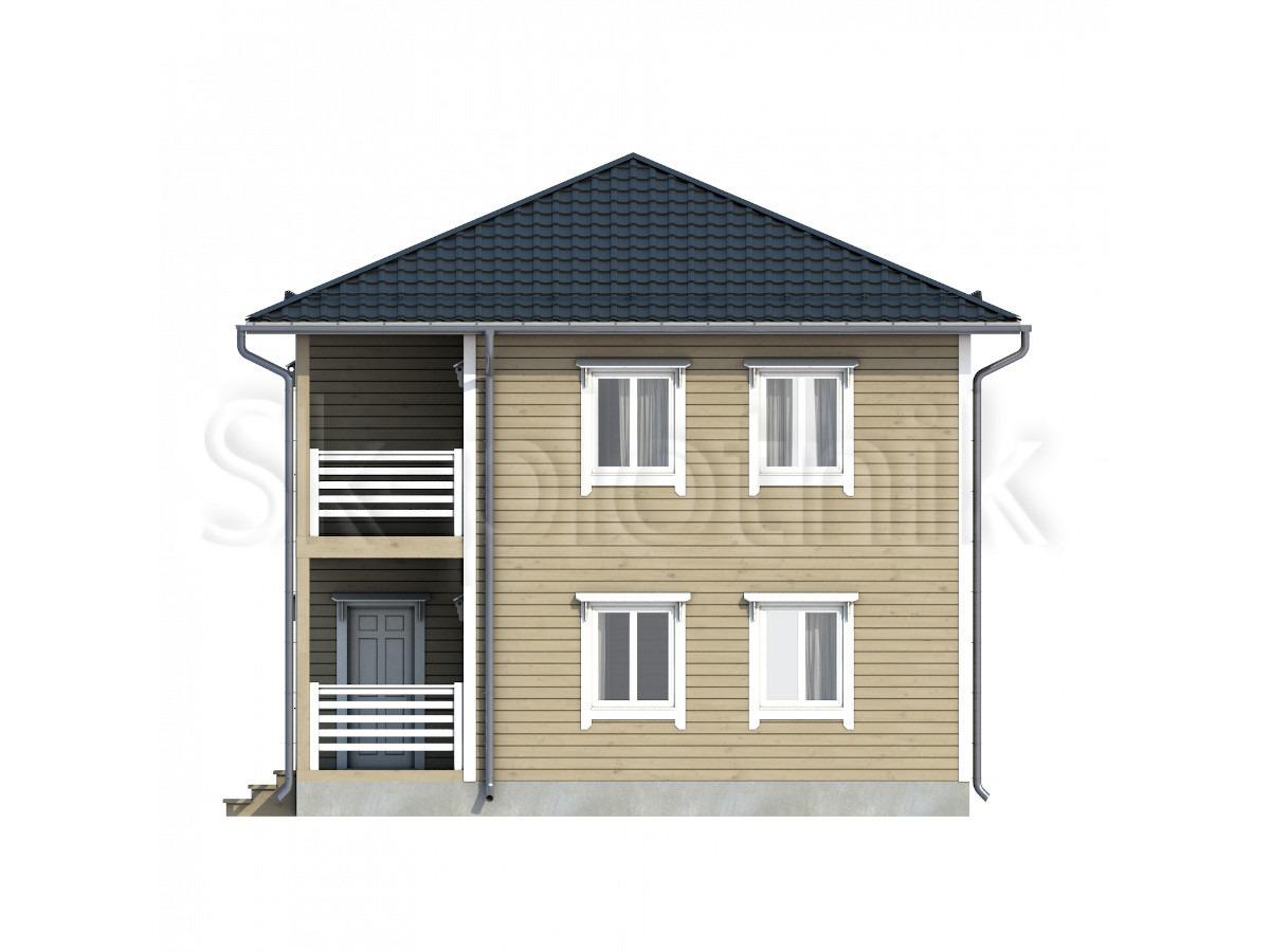 Дом из бруса с балконом Д-63