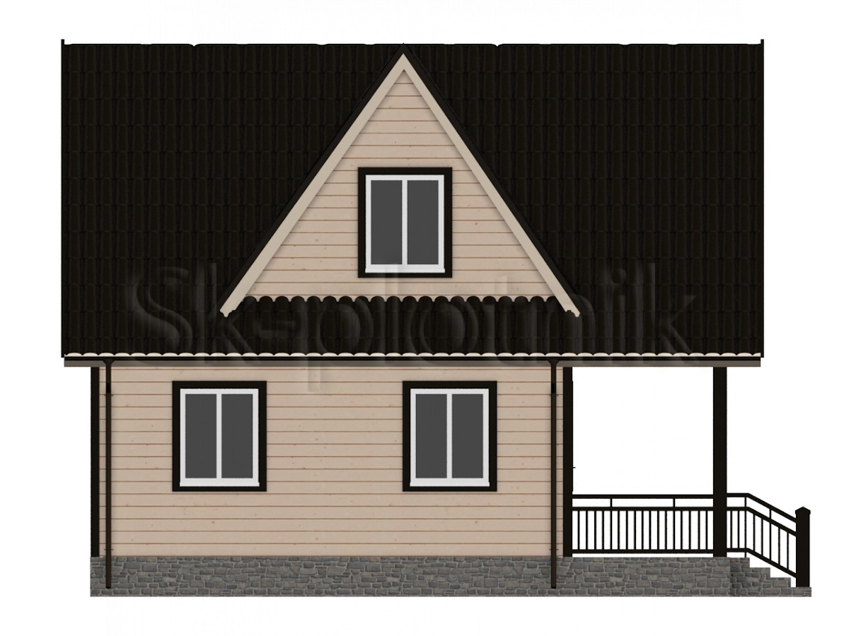 Дом из бруса с мансардой Д-4