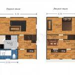 Дом из бруса 6х8 с балконом Д-1. Миниатюра №1