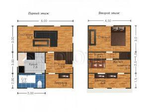 Дом из бруса с балконом Д-1