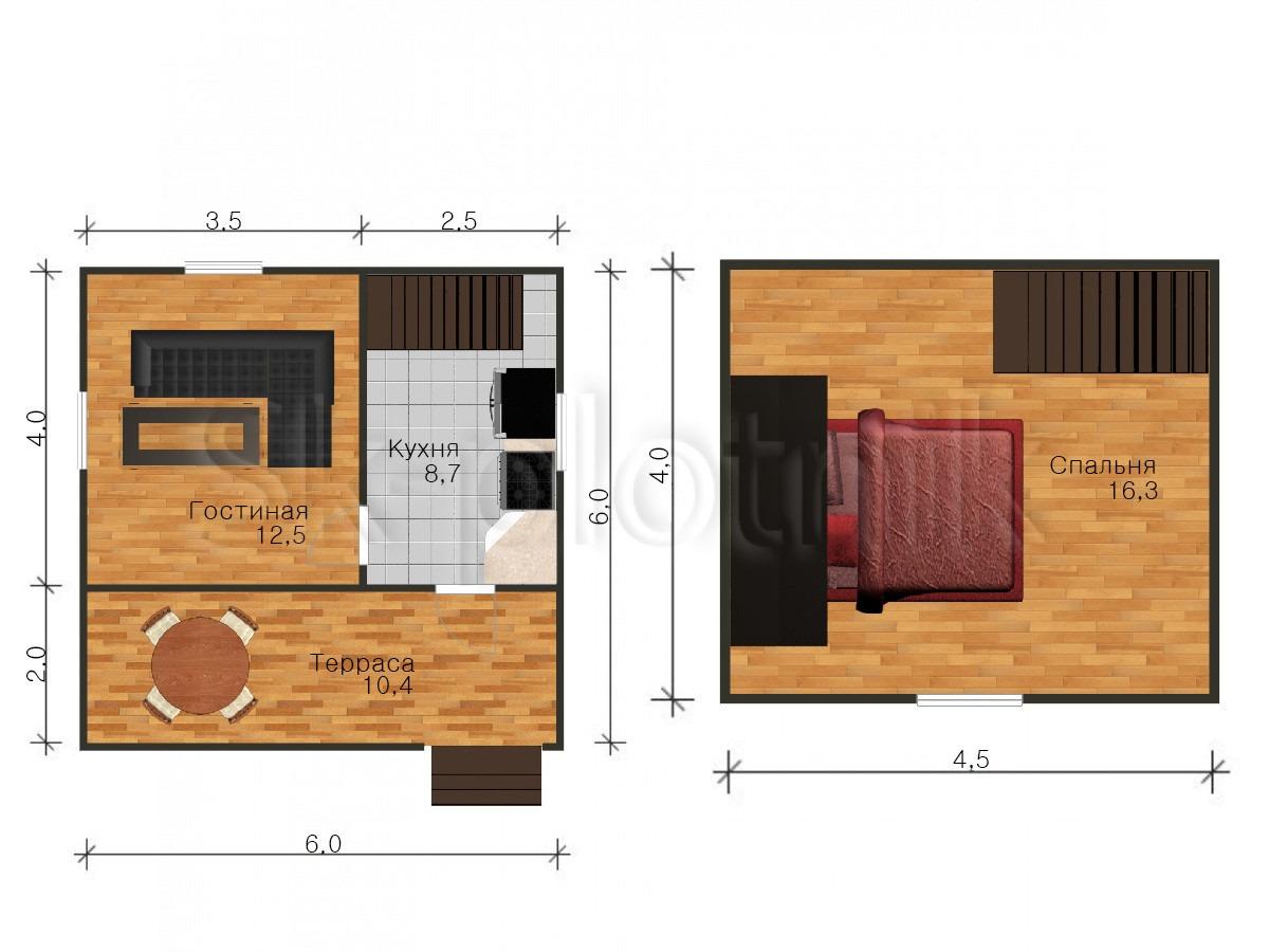 Дом из бруса с мансардой Д-7