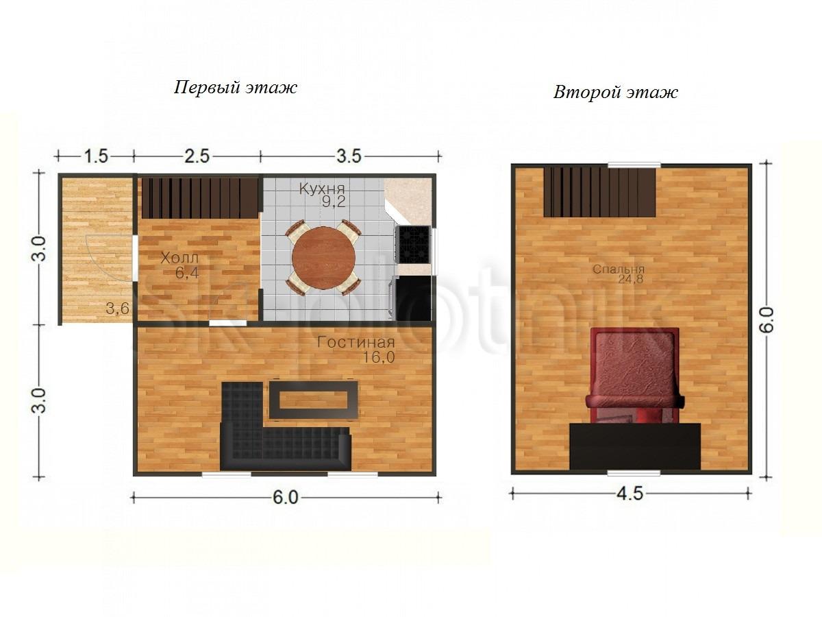 Дом из бруса с мансардой Д-13