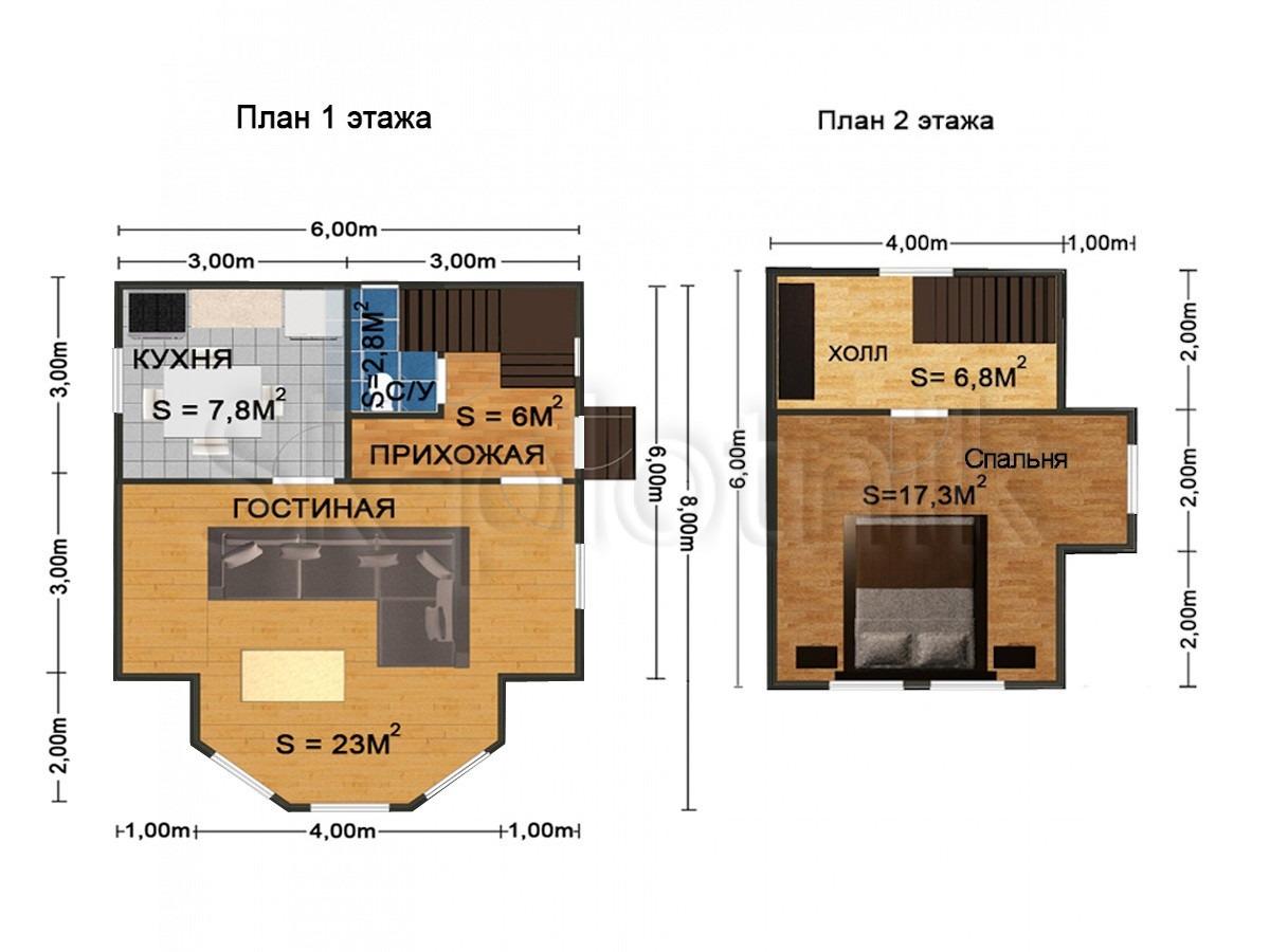 Дом из бруса с эркером Д-42