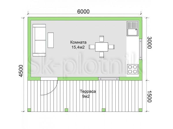 Дом из бруса 4,5х6 Д-68. Картинка №1