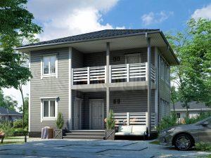 Каркасный дом с балконом ДК-63