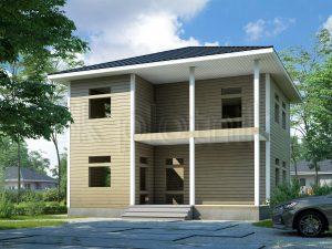Дом из бруса с балконом ДС-63
