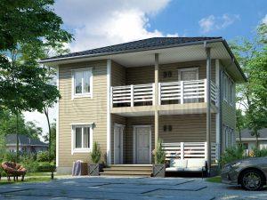 Дом из бруса 8х8 с балконом Д-63