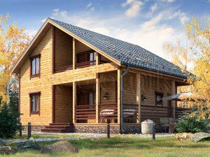 Каркасный дом с балконом ДК-60