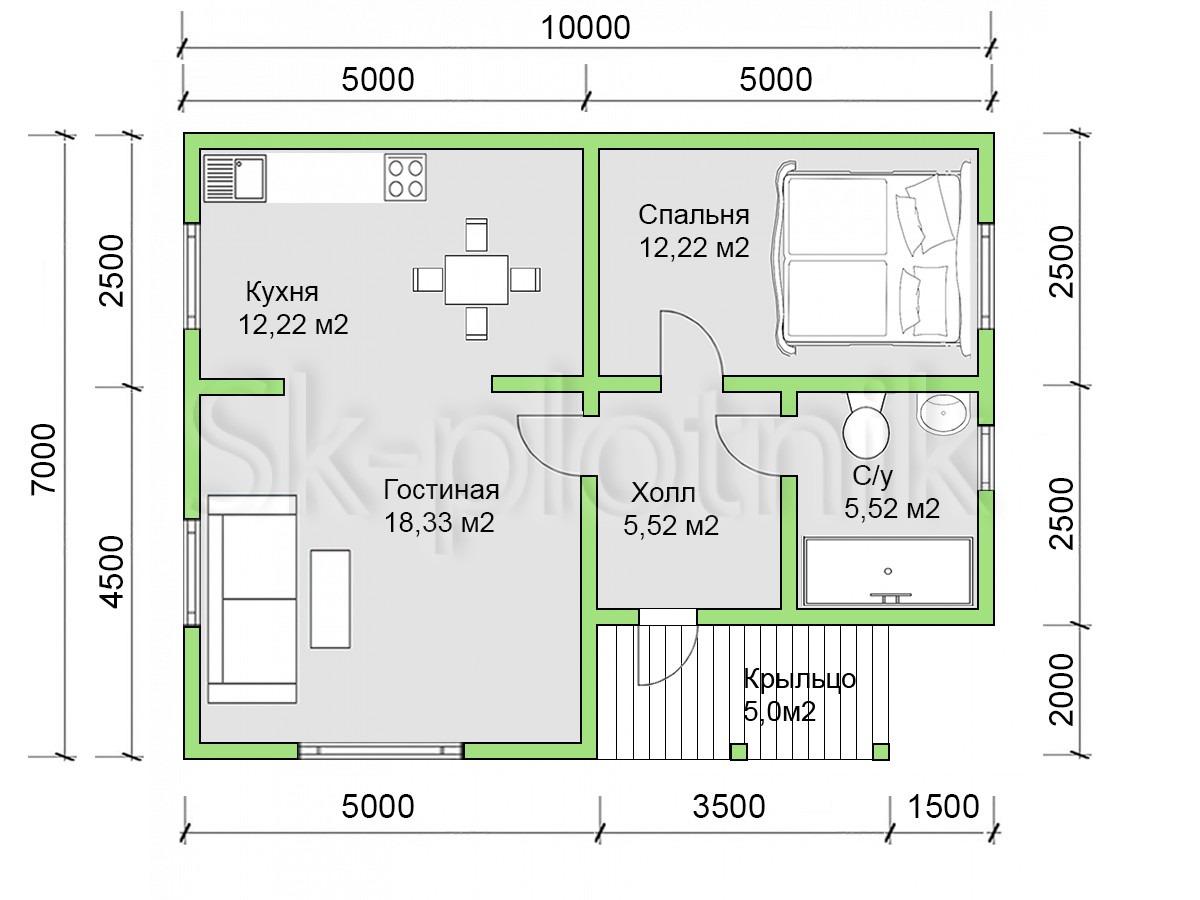 Дом из бруса 7х10 Д-87