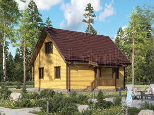 Дом из бруса с двускатной крышей 7х9 Д-76