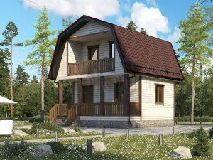 Дачный дом из бруса с террасой 6х6 Д-83
