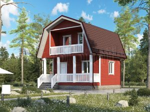 Каркасный дом 6х6 с мансардой ДК-83